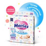 Подгузники MERRIES для новорожденных 5 кг, 90 шт