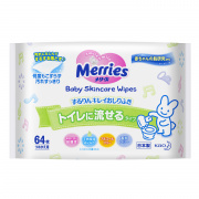 Детские влажные салфетки MERRIES Flushable Запасной блок 64 шт